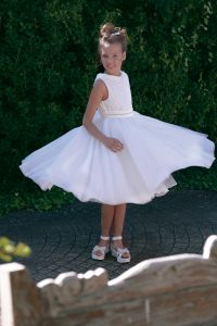 Petit communion dress with collar and tulle skirt