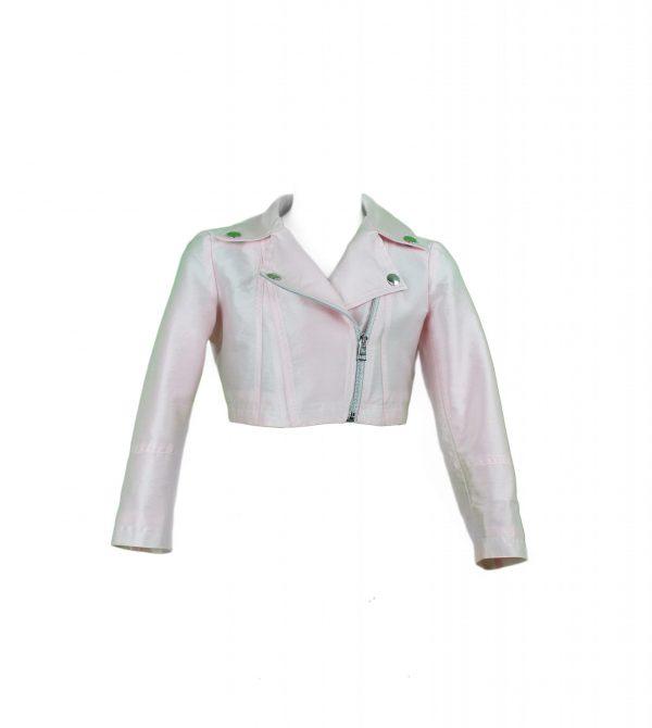 Petit pale pink biker jacket