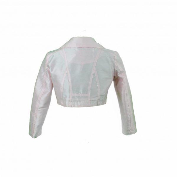 Petit pale pink biker jacket back