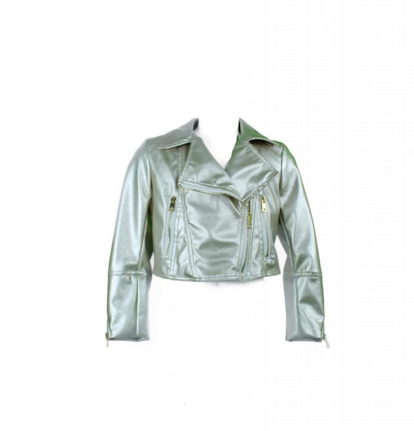 Petit gold faux leather biker jacket
