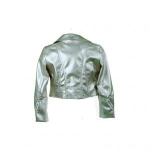 Petit gold faux leather biker jacket back