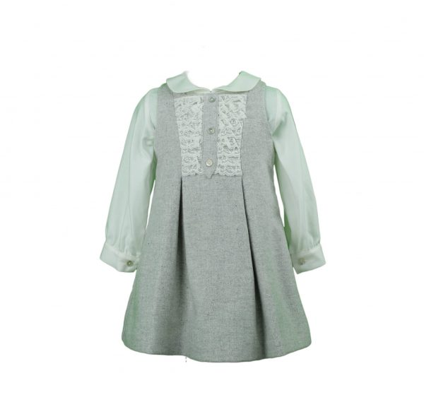 Grey wool dress with blouse