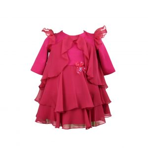 Petit red layered dress
