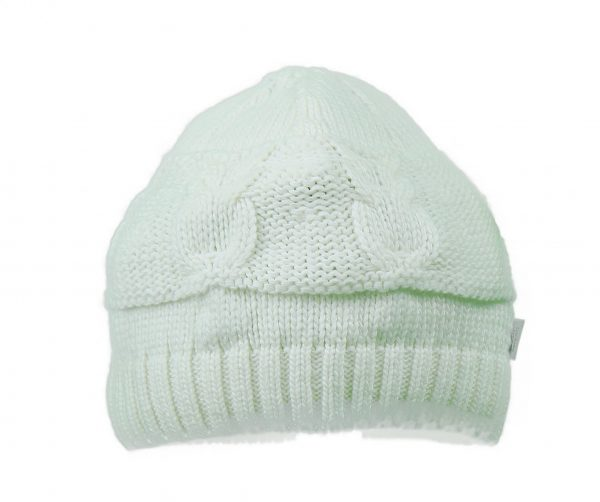 Baby cable Knitted hat in Ivory