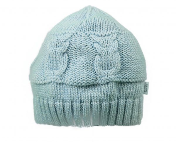 Baby cable knitted hat in blue