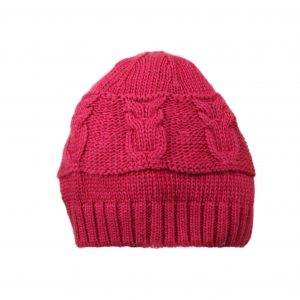 Baby cable knitted hat in red