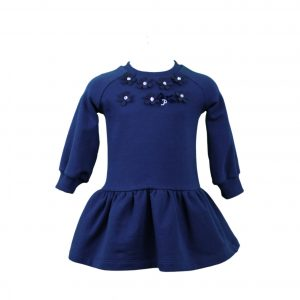 Navy jersey dress with floral detail
