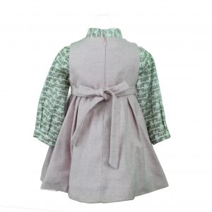 Pinafore dress with shirt back