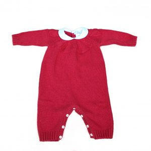 Baby grow red cable knit