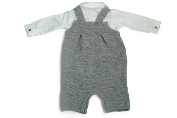 Baby romper with shirt in grey back