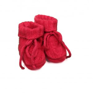 Baby booties cable knit in red