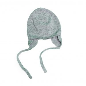 Grey knit hat with ties