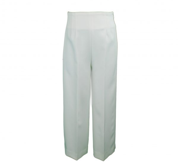 Ivory palazzo trousers front