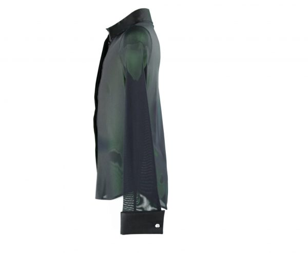 Black tulle blouse side