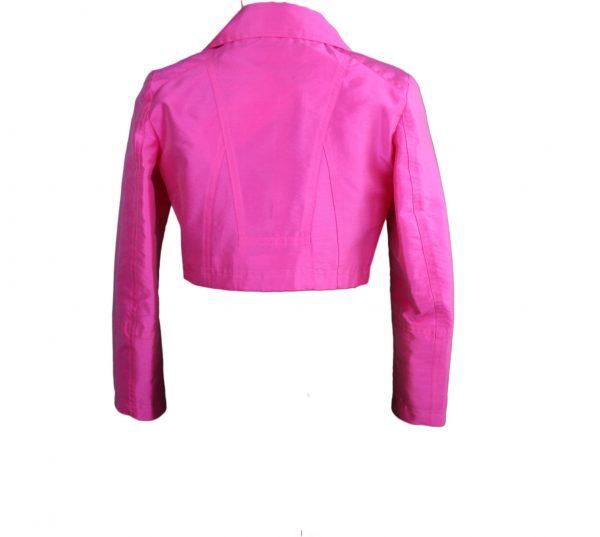 Petit hot pink biker jacket back