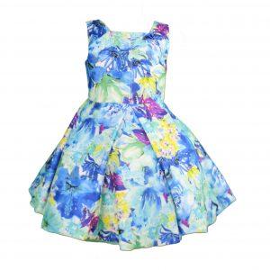 Petit blue floral dress front
