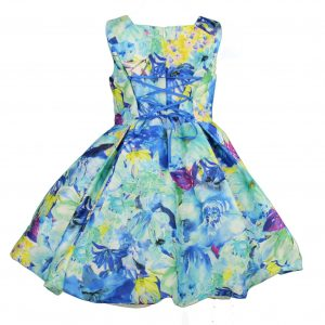 Petit blue floral dress back
