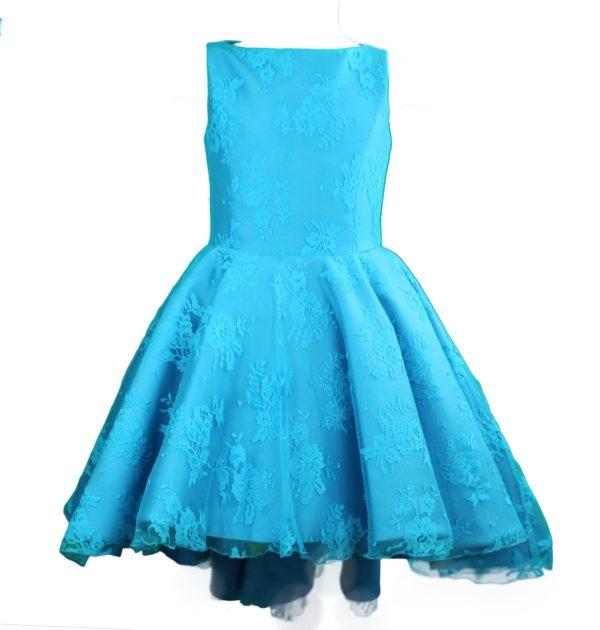 Petit high low lace dress blue