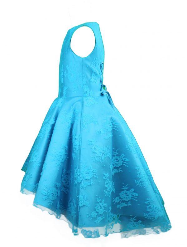 Petit high low lace dress blue side