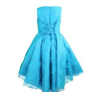 Petit high low lace dress blue back