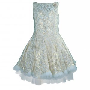 Petit Gold lace skater dress