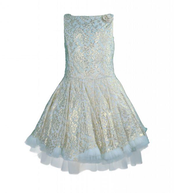 Petit Gold lace skater dress