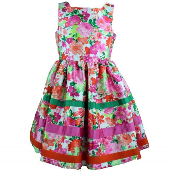 Petit hot pink floral dress