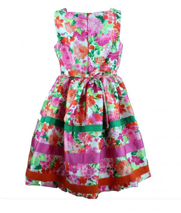 Petit hot pink floral dress back