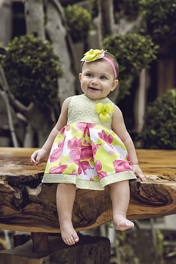 Baby lemon carp patterned dress