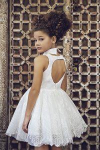 Petit Communion short lace dress with cut out