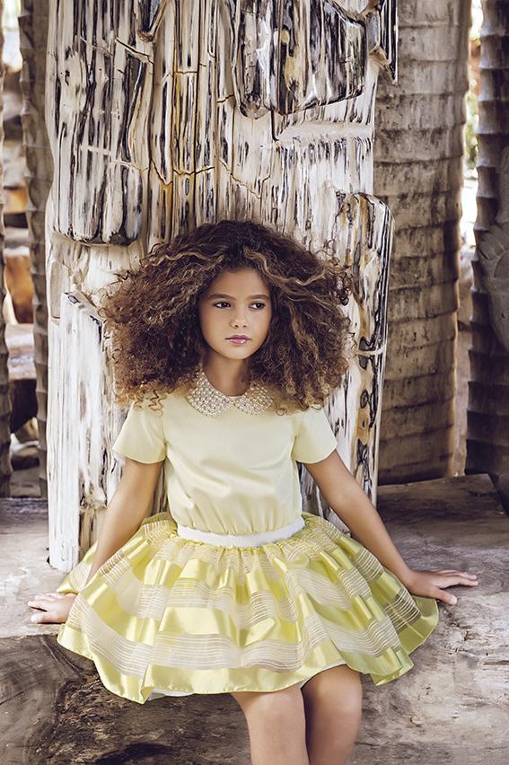 Lemon tutu dress with collar