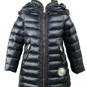 Navy padded down coat with gold zip