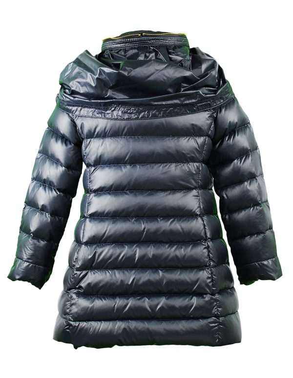 Navy padded coat with gold zip back