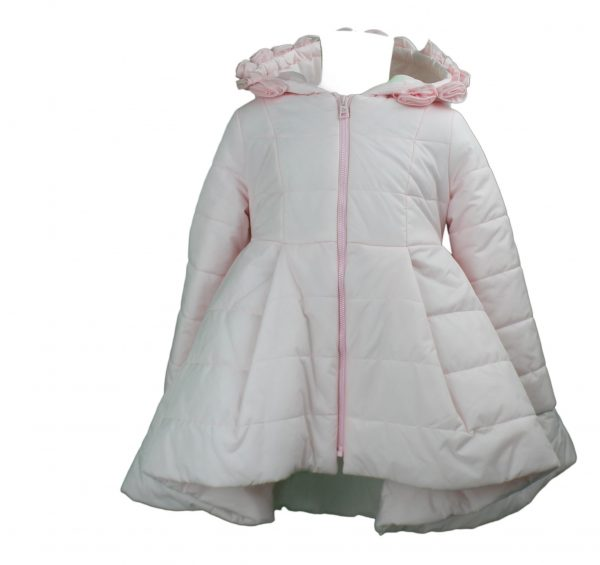 Pink coat with hood high low front