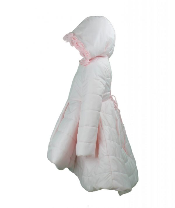 Pink coat with hood high low side