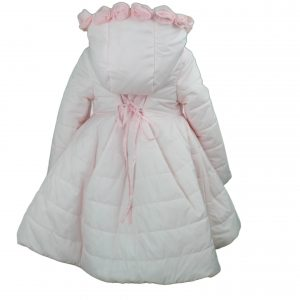 Pink coat with hood high low back