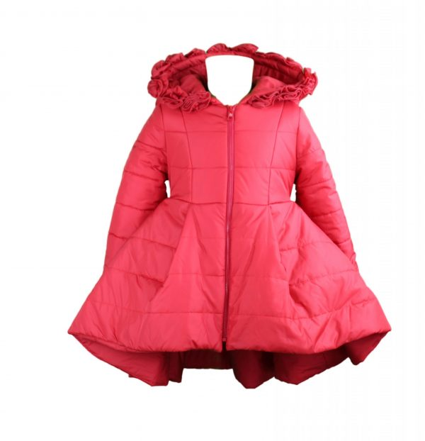 Red padded coat high low