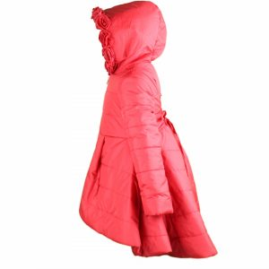 Red coat with hood high low