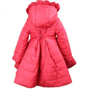 Red coat with hood high low back