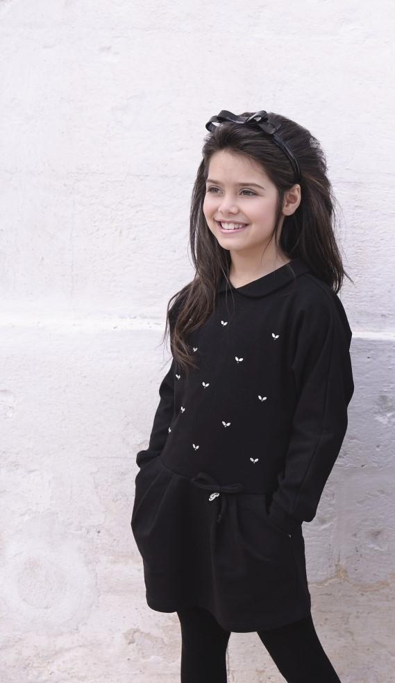 Jersey cotton dress in black