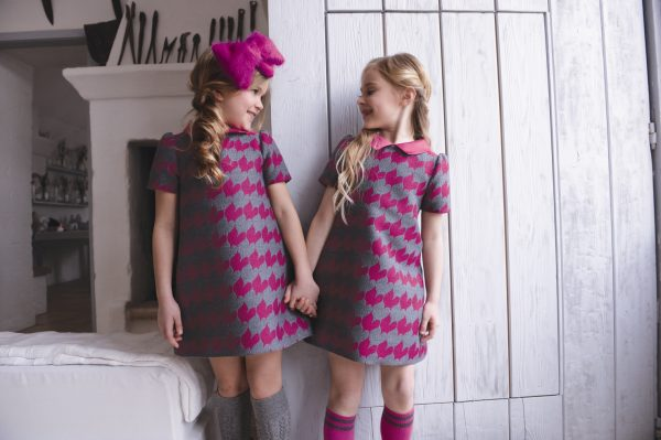 A-line Fuchsia pink and grey dress with collar