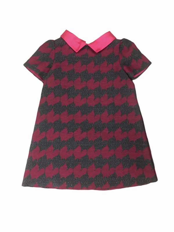 Fuchsia pink A-line dress with peter pan collar