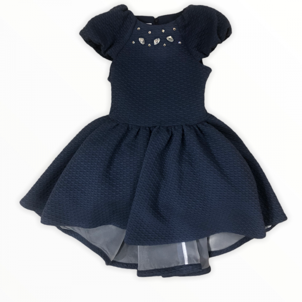 high-low dress with diamante neckline in navy