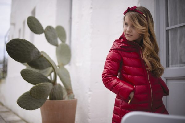 Red padded parker coat with hood