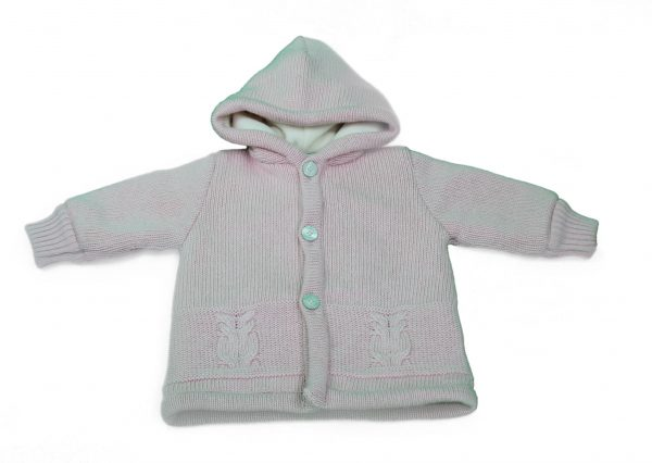 Baby pink car coat with hood