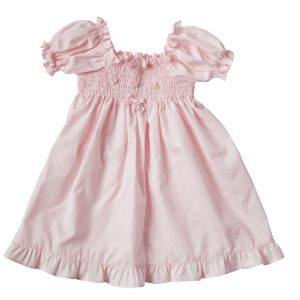 Pink smocked baby dress in cotton