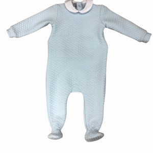 Baby grow in pale blue with peter pan collar