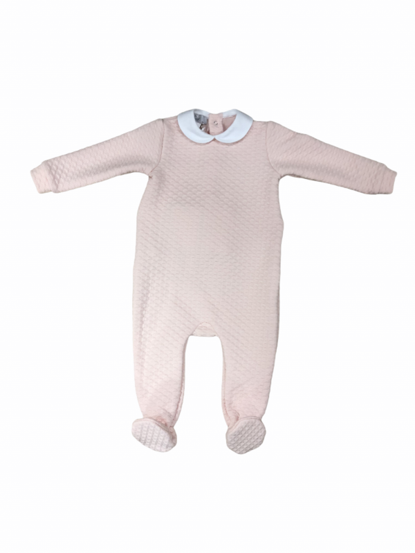 Baby grow in pink with peter pan collar