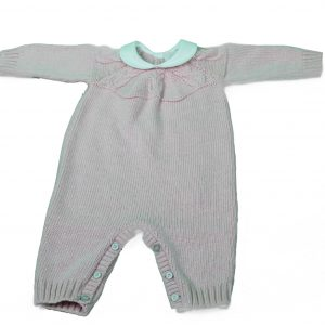 baby grow in pink with cable stitch