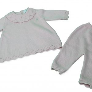 Baby knit top and leggings in dusty pink
